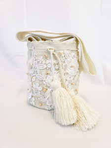 Small Cream Handmade Wayuu Mochila Bag with Lace, Crystals, and Pearls - Wuitusu