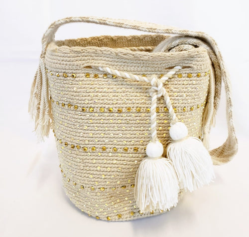 Small Cream and White Handmade Wayuu Mochila Bag with Crystals - Wuitusu