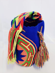 Blue Handmade Mochila Wayuu Bag with Side Panels - Wuitusu
