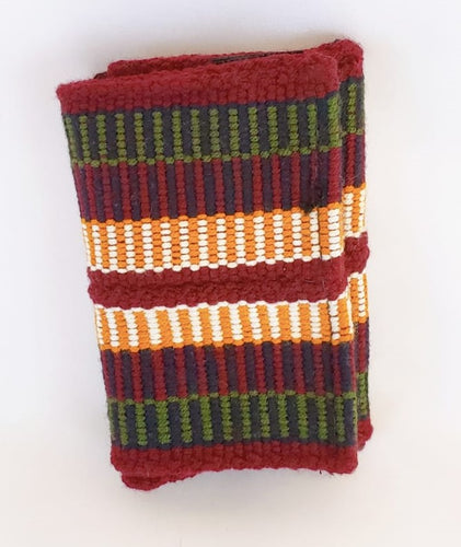 Maroon, Green and Mustard Handmade Wayuu Men's Wallet - Wuitusu