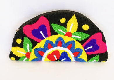 Black Semi-circle Tapiz Wayuu Clutch - Wuitusu