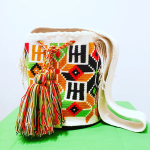 Black Orange Red Handmade Wayuu Mochila Bag - Wuitusu