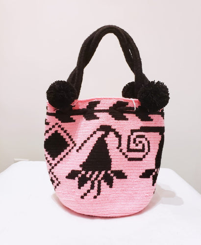 Pink and Black Handmade Wayuu Mochila Bag - Wuitusu