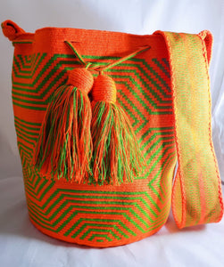 Orange and Green Spiderweb One-thread Wayuu Mochila Bag - Wuitusu