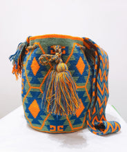Orange Green and Blue Handmade Traditional Wayuu Mochila Bag - Wuitusu