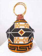 White Mustard and Black Handmade XL Bamboo Wayuu Bag - Wuitusu