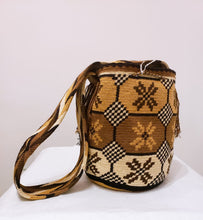 Brown Beige Dark Brown Thick Strap Mochilla - Wuitusu