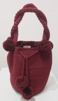 Large Maroon Short-Handle Handmade Crochet Wayuu Mochila Bag - Wuitusu