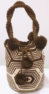 Brown Spiderweb Short-handle Handmade Wayuu Mochila Bag - Wuitusu
