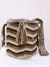 Gray Brown and Black Waves Handmade Wayuu Mochila Bag - Wuitusu