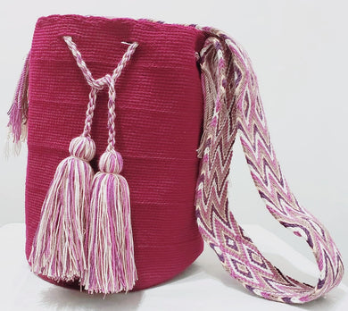Plum Color Handmade Wayuu Mochila Bag - Wuitusu