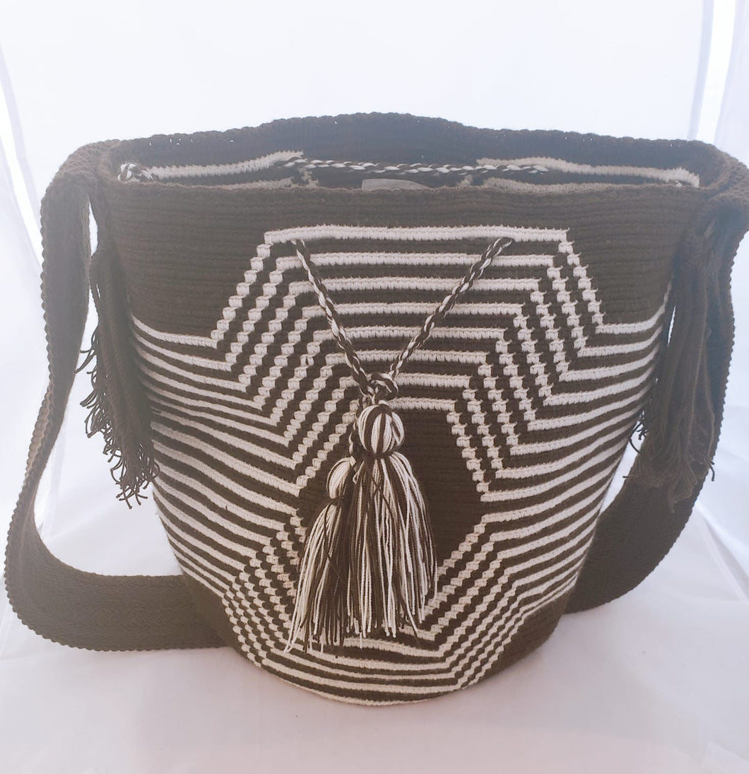 Brown Spiderweb Handmade Wayuu Mochila Bag - Wuitusu