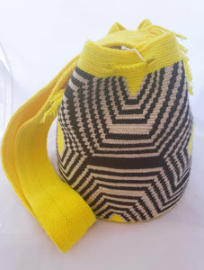 Yellow Spiderweb Handmade Wayuu Mochila Bag - Wuitusu