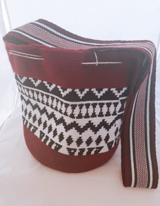 Maroon, Cream and Black Handmade Wayuu Mochila  Bag - Wuitusu
