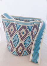 Purple, Blue and Green Handmade Wayuu Mochila Bag - Wuitusu