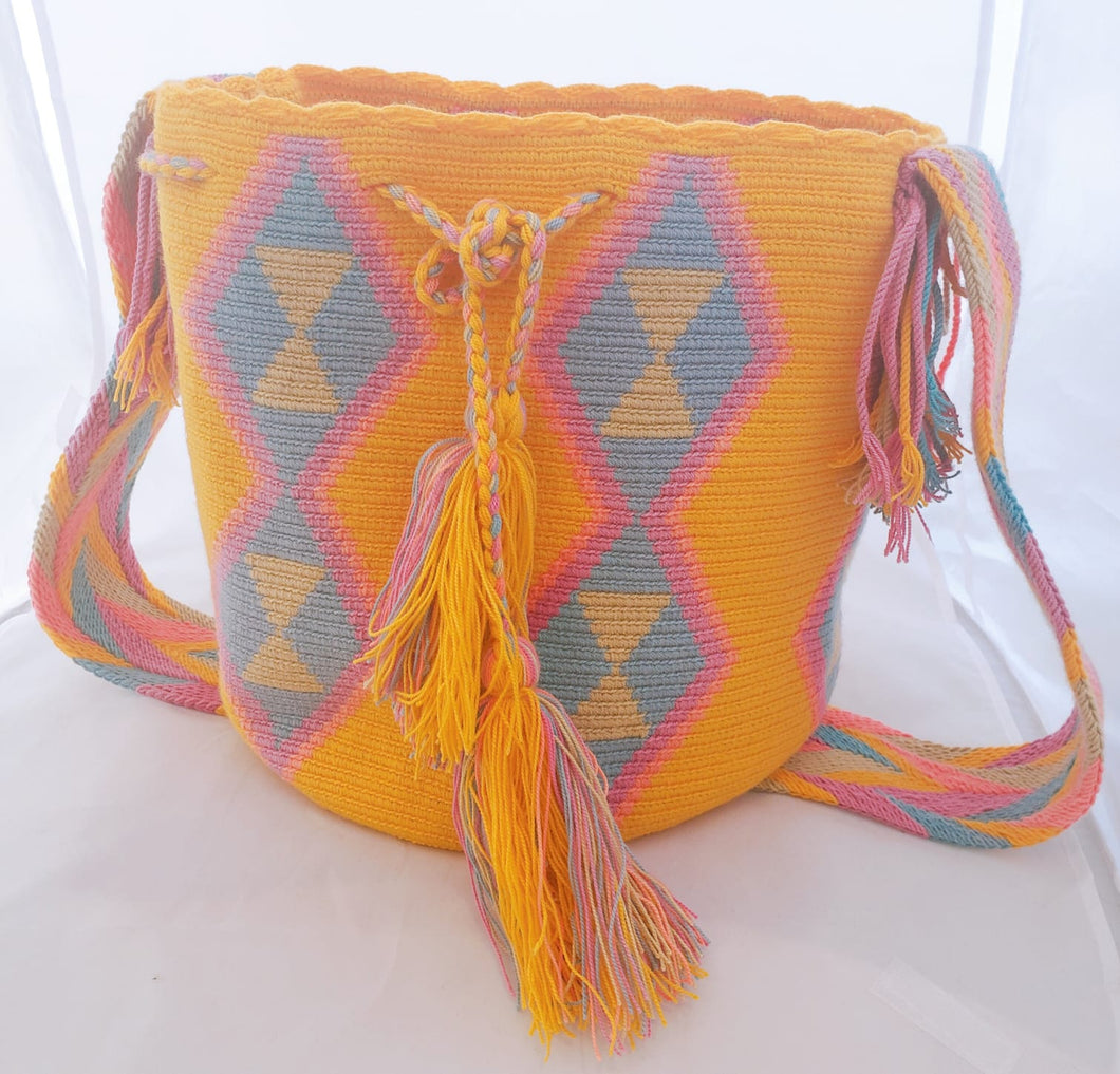 Yellow, pink and blue handmade Wayuu Mochila Bag - Wuitusu
