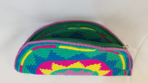 Green Yellow Pink and Blue Semi Circle Clutch - Wuitusu