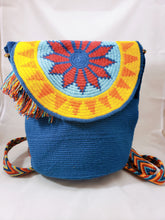 Large Blue Handmade Wayuu Backpack - Wuitusu