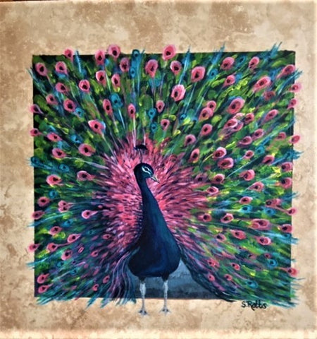 FEATHERFUL PEACOCK- Acrylic on tile