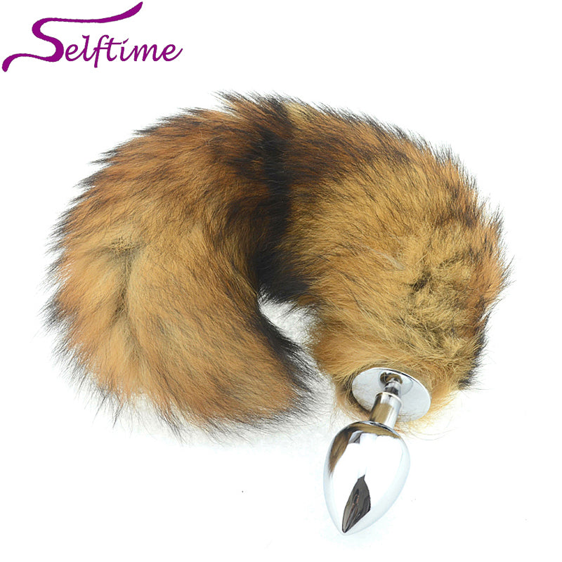 3 Sizes of Metal Erotic Anal Butt Plugs , Long Fox Tail, Anus Sexy Toys For Women & Men, Funny Adult Love Fox Tail AS026S