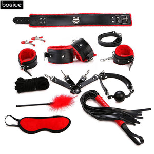 Sex Products 11 Pcs/Set BDSM Bondage Set Leather Fetish Adult Games Sex Toys for Couples Slave Game SM Product Collar Eye Mask