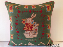 "Load image into Gallery viewer, Alice In Wonderland/Heart Rabbit 19""x19"" Tapestry Pillow"