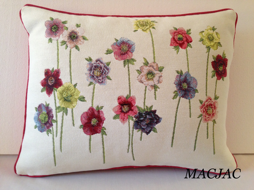 Hellebores On Stems Flower Tapestry Pillow 14