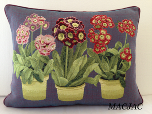 "3 Primroses Tapestry Pillow 14""x19"" Made In France"