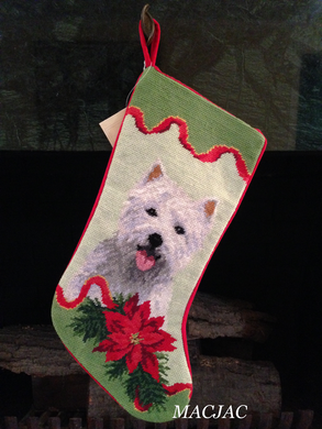 Westie Dog Needlepoint Christmas Stocking