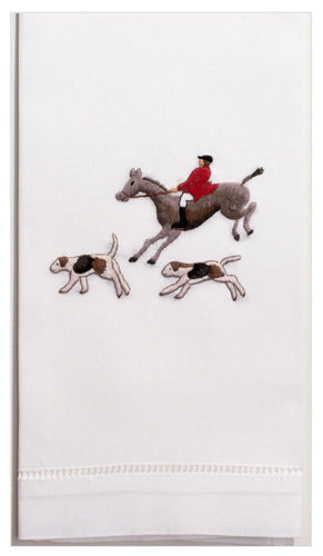 Hunt Scene 100% Cotton Guest Hand Towel