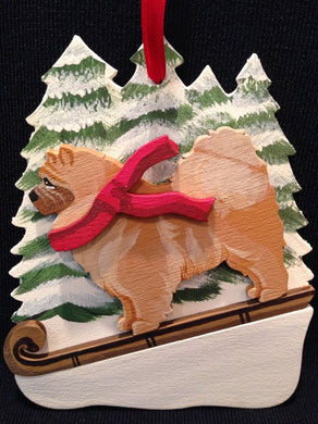 Red Chow Chow Dog Wooden Ornament Made in USA