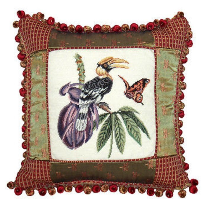Great Hornbill Petit-Point Pillow/ Fabric Trim 16