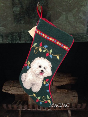 Bichon Dog Needlepoint Christmas Stocking