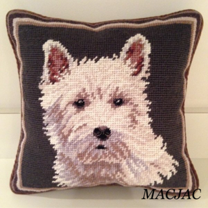 "Westie White Dog Needlepoint Pillow 10""x10"""