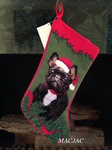 Black Frenchie Dog Needlepoint Christmas Stocking