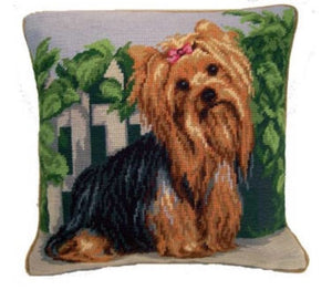"Yorkie Dog Needlepoint Pillow 14""x14"""