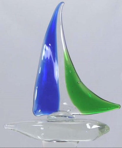 Sailboat Wine Bottle Stopper Hand Blown Glass