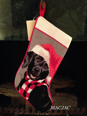 Black Labrador Dog Needlepoint Christmas Stocking