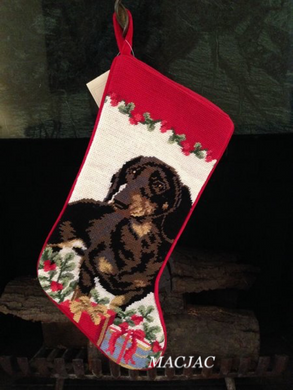 Black Dachshund Dog Needlepoint Christmas Stocking