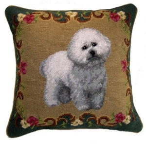 "Bichon Dog Needlepoint Pillow 14""x14"""