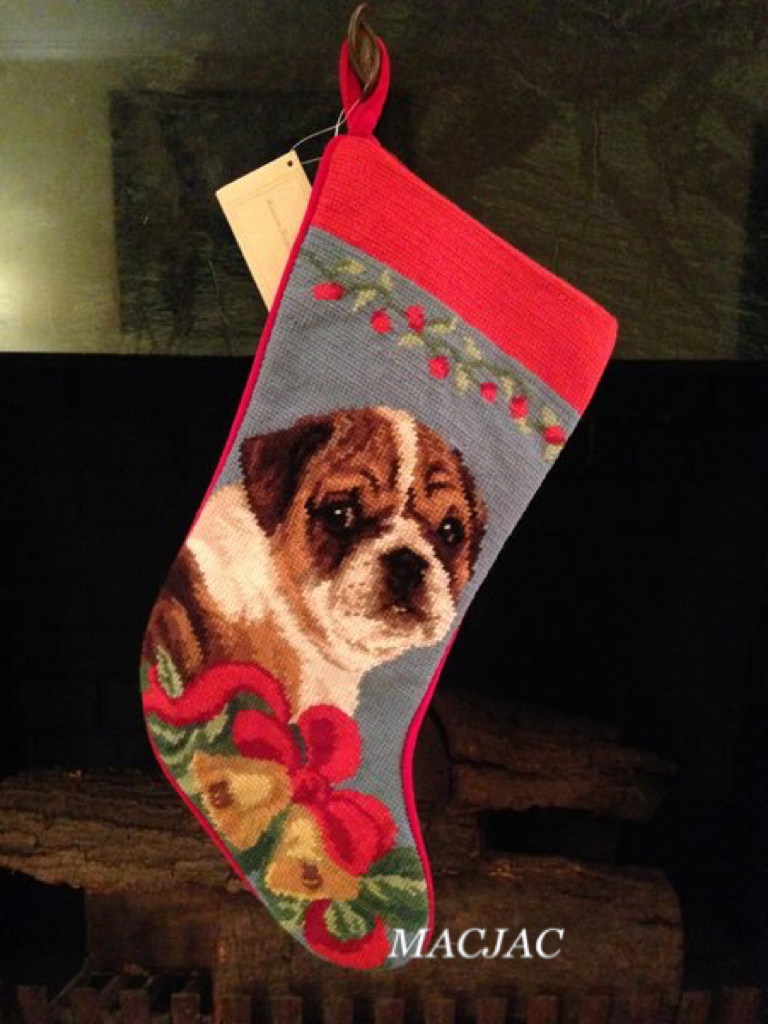 Bulldog Dog Needlepoint Christmas Stocking