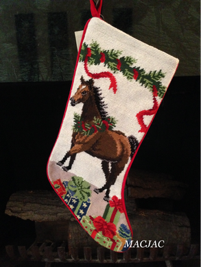 Brown Horse Needlepoint Christmas Stocking