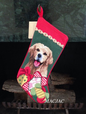 Golden Retriever Dog Needlepoint Christmas Stocking