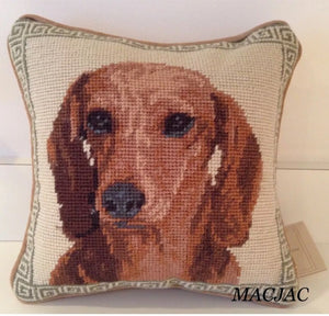 "Dachshund Dog Needlepoint Pillow 10""x10"""