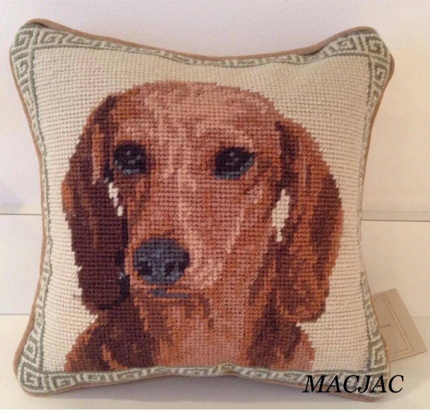 Dachshund Dog Needlepoint Pillow 10