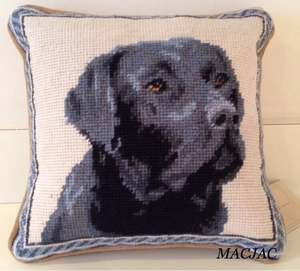 "Black Lab/Labrador Retriever Dog Needlepoint Pillow 9""x 9"""