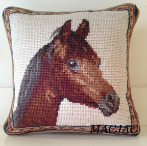 "Horse Needlepoint Pillow 10"" x 10"""