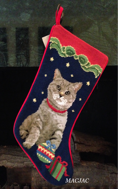 Cat Needlepoint Christmas Stocking