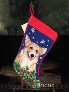 Corgi Dog Needlepoint Christmas Stocking