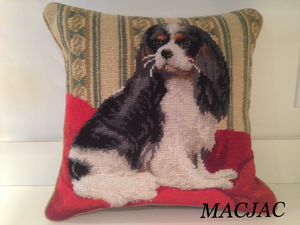 "Tricolor King Cavalier Dog Needlepoint Pillow 14""x14"""